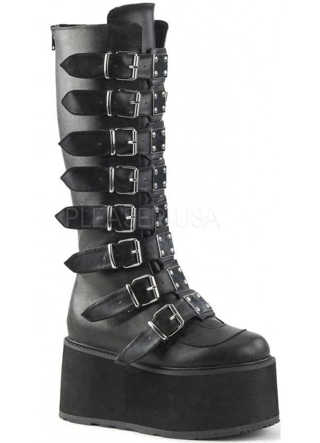 4ac93313ae0 Damned Black Faux Leather Gothic Knee Boots for Women