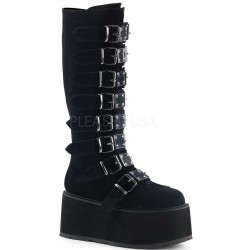 Damned Black Velvet Gothic Knee Boots for Women Gothic Plus Gothic Clothing, Jewelry, Goth Shoes & Boots & Home Decor