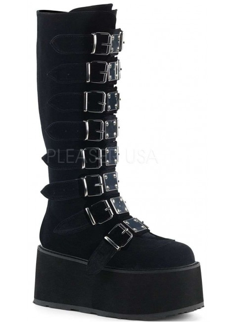 Damned Black Velvet Gothic Knee Boots for Women at Gothic Plus, Gothic Clothing, Jewelry, Goth Shoes & Boots & Home Decor