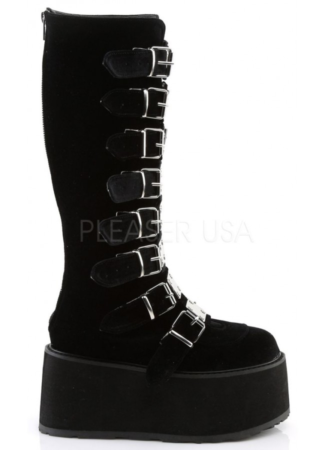 Damned Black Velvet Gothic Knee Boots For Women Platform