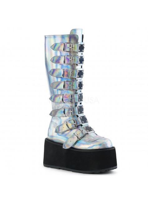 Damned Silver Hologram Gothic Knee Boots for Women at Gothic Plus, Gothic Clothing, Jewelry, Goth Shoes & Boots & Home Decor