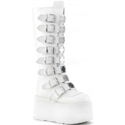 Damned White Gothic Knee Boots for Women Gothic Plus Gothic Clothing, Jewelry, Goth Shoes & Boots & Home Decor