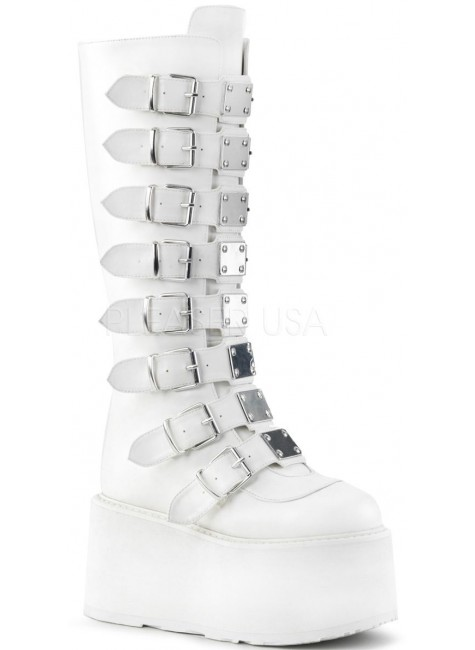 Damned White Gothic Knee Boots for Women at Gothic Plus, Gothic Clothing, Jewelry, Goth Shoes & Boots & Home Decor