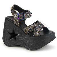 Dynamite Star Womens Platform Black Glitter Sandal