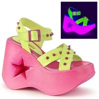 Dynamite Star Neon Lime and Pink Platform Sandal