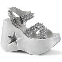 Dynamite Star Womens Platform Silver Sandal