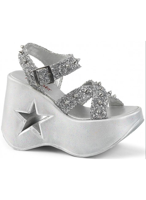 Dynamite Star Womens Platform Silver Sandal at Gothic Plus, Gothic Clothing, Jewelry, Goth Shoes & Boots & Home Decor