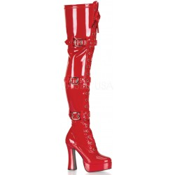 Electra Red Buckled Thigh High Platform Boots Gothic Plus Gothic Clothing, Jewelry, Goth Shoes & Boots & Home Decor