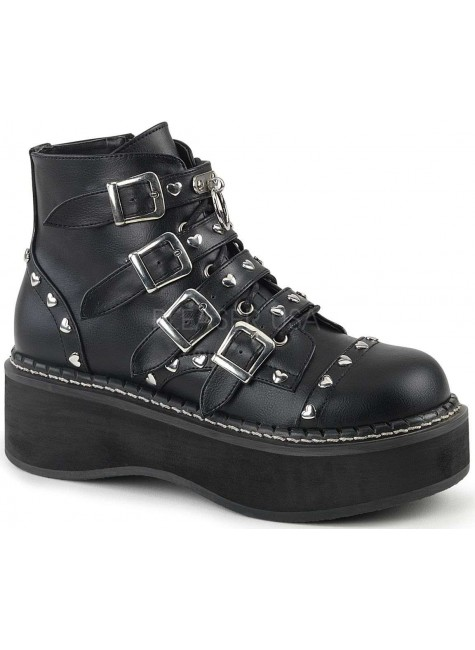 Emily Low Platform Heart Stud Ankle Boot at Gothic Plus, Gothic Clothing, Jewelry, Goth Shoes & Boots & Home Decor
