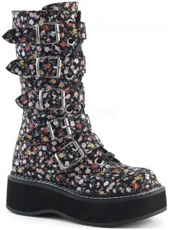 Emily Floral Print Mid-Calf Boot Gothic Plus Gothic Clothing, Jewelry, Goth Shoes & Boots & Home Decor