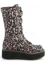 Emily Floral Print Mid-Calf Boot at Gothic Plus, Gothic Clothing, Jewelry, Goth Shoes & Boots & Home Decor