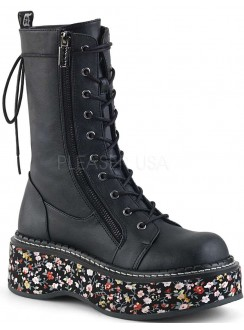 Emily Floral Platform Mid-Calf Boot Gothic Plus Gothic Clothing, Jewelry, Goth Shoes & Boots & Home Decor