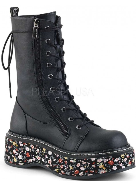 Emily Floral Platform Mid-Calf Boot at Gothic Plus, Gothic Clothing, Jewelry, Goth Shoes & Boots & Home Decor