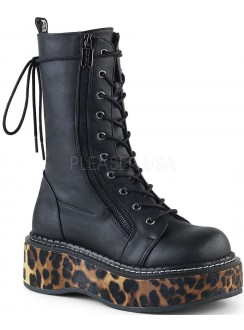 Emily Leopard Platform Mid-Calf Boot Gothic Plus Gothic Clothing, Jewelry, Goth Shoes & Boots & Home Decor