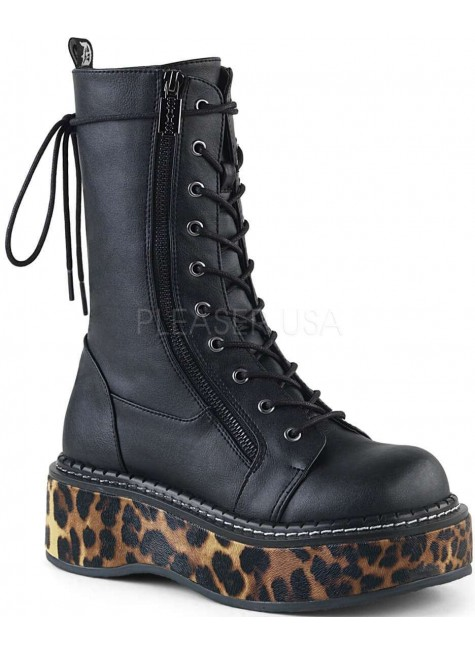 Emily Leopard Platform Mid-Calf Boot at Gothic Plus, Gothic Clothing, Jewelry, Goth Shoes & Boots & Home Decor