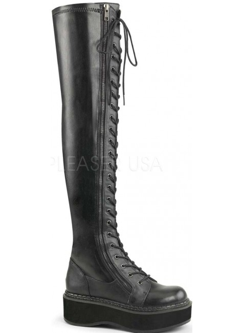 Emily Black Low Heel Thigh High Gothic Platform Boot at Gothic Plus, Gothic Clothing, Jewelry, Goth Shoes & Boots & Home Decor