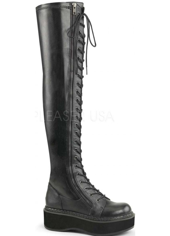 d416aecdc807 Emily Black Low Heel Thigh High Gothic Platform Boot at Gothic Plus