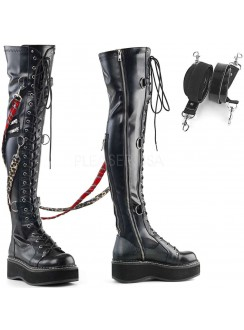 Emily Bondage Strap Low Platform Thigh High Gothic Boot Gothic Plus Gothic Clothing, Jewelry, Goth Shoes & Boots & Home Decor