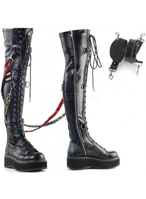 Emily Bondage Strap Low Platform Thigh High Gothic Boot at Gothic Plus, Gothic Clothing, Jewelry, Goth Shoes & Boots & Home Decor