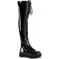 Emily Black Patent Thigh High Gothic Platform Boot Gothic Plus Gothic Clothing, Jewelry, Goth Shoes & Boots & Home Decor