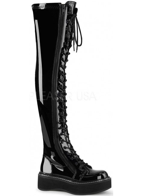 Emily Black Patent Thigh High Gothic Platform Boot at Gothic Plus, Gothic Clothing, Jewelry, Goth Shoes & Boots & Home Decor