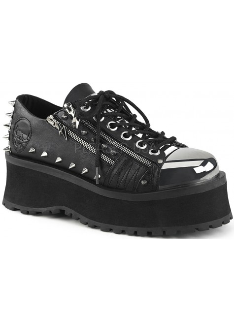 Gravedigger Mens Lightning Zipped Platform Oxford Shoe at Gothic Plus, Gothic Clothing, Jewelry, Goth Shoes & Boots & Home Decor