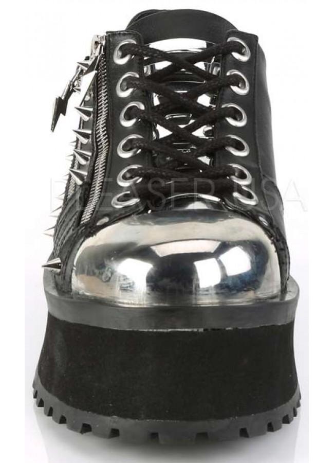 Gravedigger Mens Lightning Zipped Platform Oxford Shoe