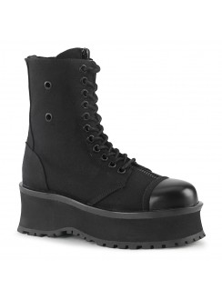 Gravedigger Mens Black Canvas Ankle Boots Gothic Plus Gothic Clothing, Jewelry, Goth Shoes & Boots & Home Decor