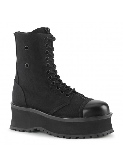 Gravedigger Mens Black Canvas Ankle Boots at Gothic Plus, Gothic Clothing, Jewelry, Goth Shoes & Boots & Home Decor
