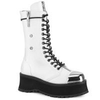 Gravedigger Mens White Platform Combat Boots