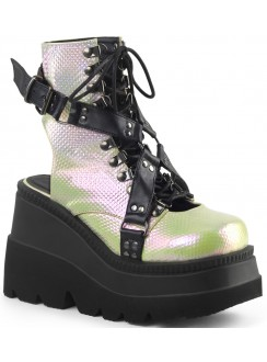 Open Back Green and Black Womens Platform Boots Gothic Plus Gothic Clothing, Jewelry, Goth Shoes & Boots & Home Decor