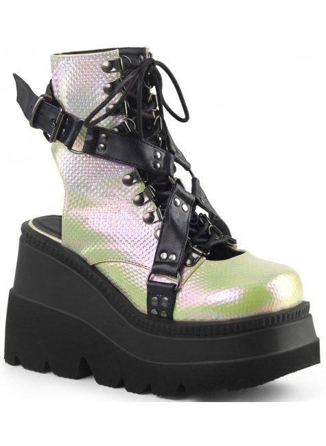 Open Back Green and Black Womens Platform Boots at Gothic Plus, Gothic Clothing, Jewelry, Goth Shoes & Boots & Home Decor