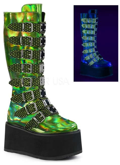 Damned Lime Green Hologram Knee Boots for Women at Gothic Plus, Gothic Clothing, Jewelry, Goth Shoes & Boots & Home Decor