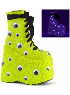 Slay Lime Green Googly Eye Platform Boots Gothic Plus Gothic Clothing, Jewelry, Goth Shoes & Boots & Home Decor