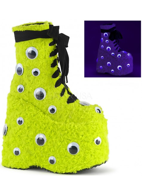 Slay Lime Green Googly Eye Platform Boots at Gothic Plus, Gothic Clothing, Jewelry, Goth Shoes & Boots & Home Decor