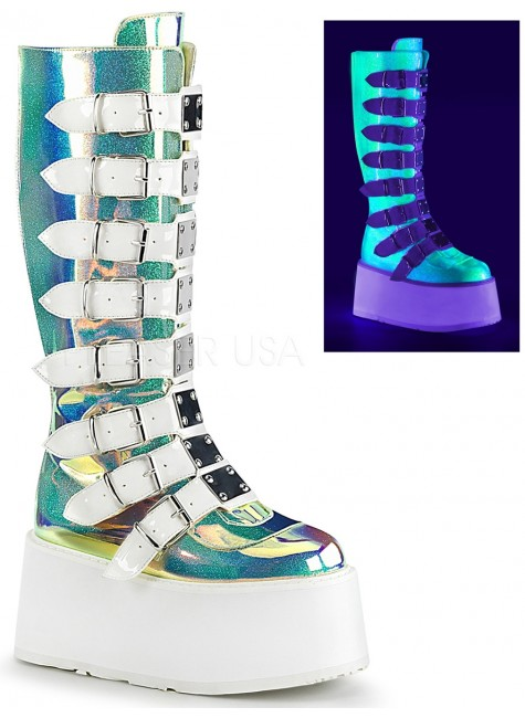 Damned Shimmering Green UV Knee Boots at Gothic Plus, Gothic Clothing, Jewelry, Goth Shoes & Boots & Home Decor