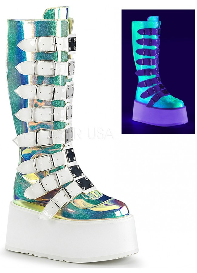 a09c0481f86 Damned Shimmering Green UV Knee Boots