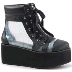 Grip 102 Platform Ankle Boot with Holographic Panels Gothic Plus Gothic Clothing, Jewelry, Goth Shoes & Boots & Home Decor
