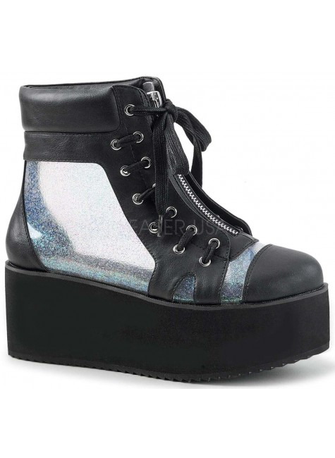 Grip 102 Platform Ankle Boot with Holographic Panels at Gothic Plus, Gothic Clothing, Jewelry, Goth Shoes & Boots & Home Decor