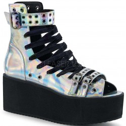 Grip 105 Silver Hologram Peep Toe Platform Ankle Boot Gothic Plus Gothic Clothing, Jewelry, Goth Shoes & Boots & Home Decor