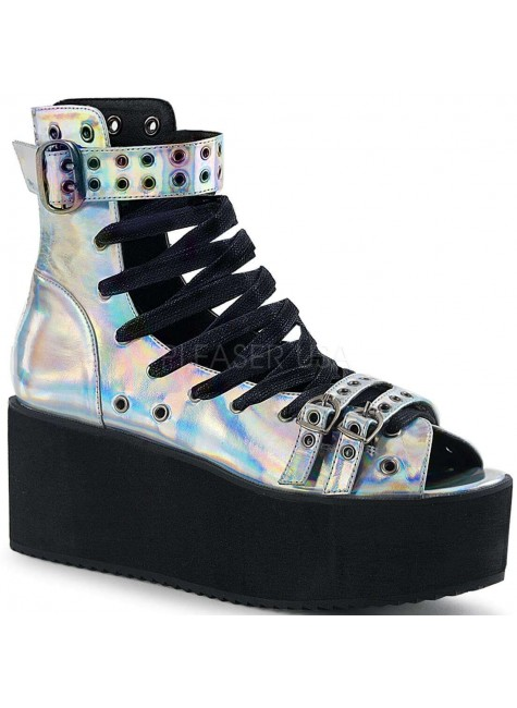 Grip 105 Silver Hologram Peep Toe Platform Ankle Boot at Gothic Plus, Gothic Clothing, Jewelry, Goth Shoes & Boots & Home Decor