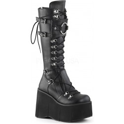 Kera Black Platform Knee High Buckled Boots Gothic Plus Gothic Clothing, Jewelry, Goth Shoes & Boots & Home Decor