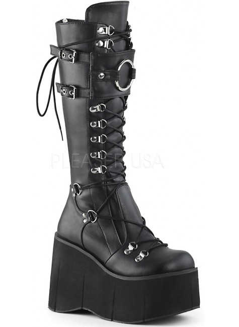Kera Black Platform Knee High Buckled Boots at Gothic Plus, Gothic Clothing, Jewelry, Goth Shoes & Boots & Home Decor