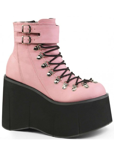 Kera Pink Platform Ankle Boots at Gothic Plus, Gothic Clothing, Jewelry, Goth Shoes & Boots & Home Decor