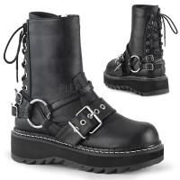 Lilith Black Platform Lace Up Back Ankle Boots