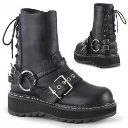 Lilith Black Platform Lace Up Back Ankle Boots Gothic Plus Gothic Clothing, Jewelry, Goth Shoes & Boots & Home Decor