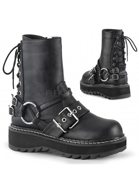 Lilith Black Platform Lace Up Back Ankle Boots at Gothic Plus, Gothic Clothing, Jewelry, Goth Shoes & Boots & Home Decor
