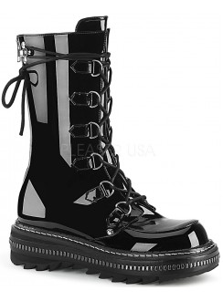 Lilith Metal Trimmed Mid-Calf Womens Black Patent Boot Gothic Plus Gothic Clothing, Jewelry, Goth Shoes & Boots & Home Decor