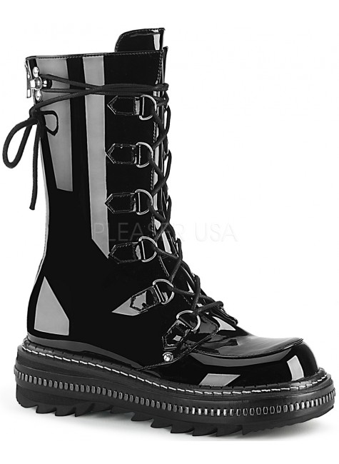 Lilith Metal Trimmed Mid-Calf Womens Black Patent Boot at Gothic Plus, Gothic Clothing, Jewelry, Goth Shoes & Boots & Home Decor