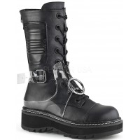 Lilith Mid-Calf Womens Black Harness Boot